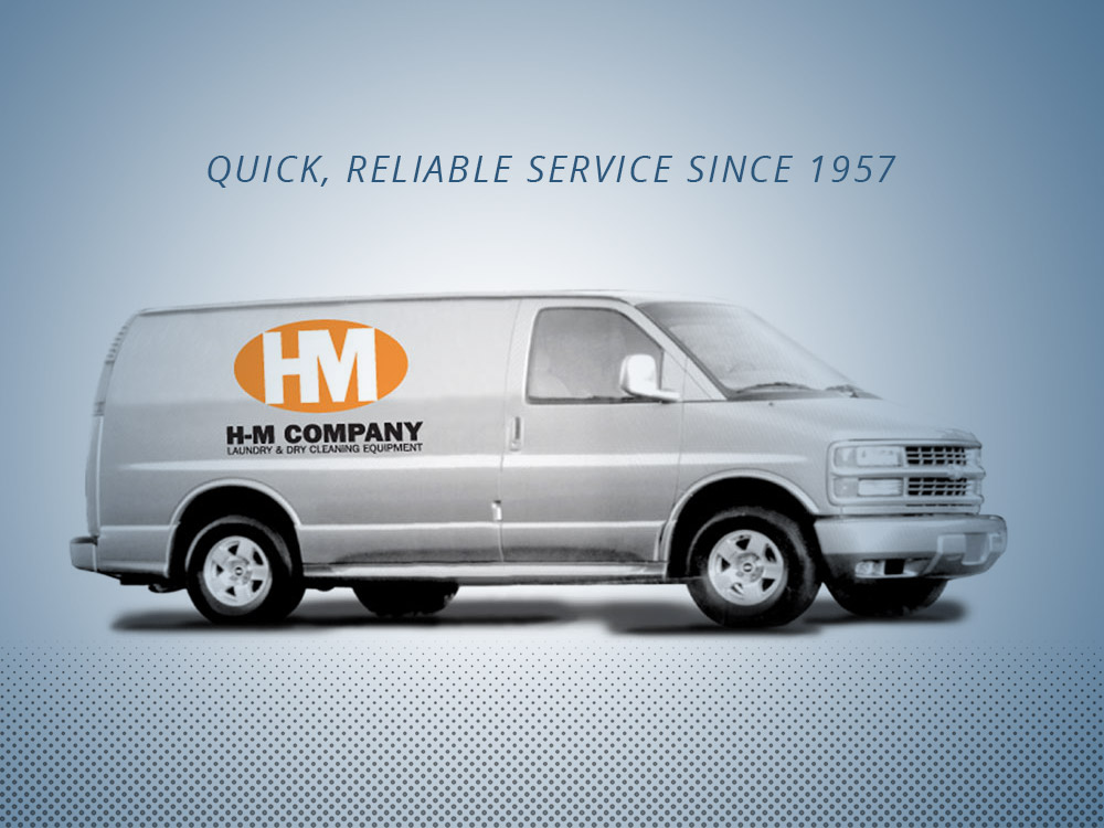 An H-M Laundry transport van | Quick, Reliable Services Since 1957 | Coin laundry near me
