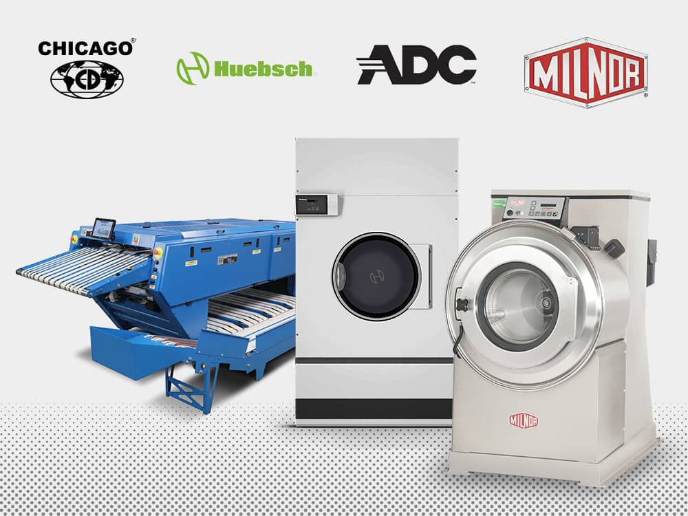 Chicago, Huebsch, ADC, and Milnor commercial laundry equipment