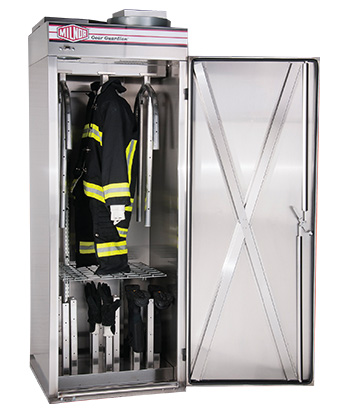 Milnor fire cabinet full of firefighting equipment   Commercial laundry equipment