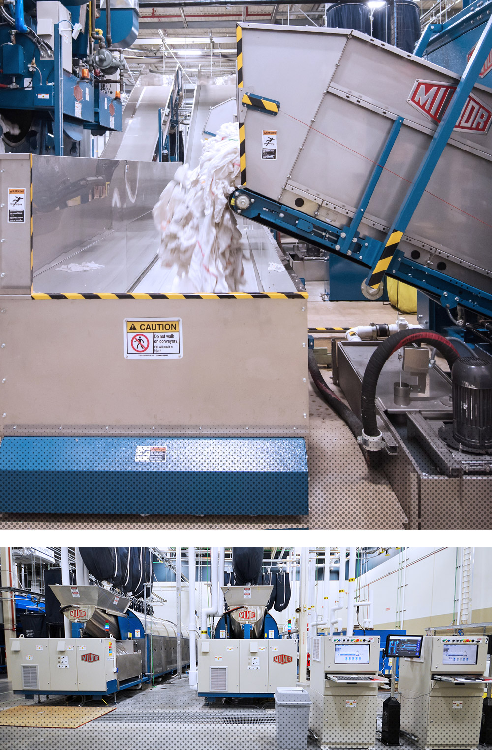 Laundry being dumped onto conveyor | On premise laundry equipment for sale
